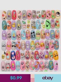 Cute Cartoon Water Transfer Nail Art Decoration Stickers Decals Manicure Diy - The most beautiful nail designs Unicorn Nails Designs, Fruit Nail Art, Cow Nails, Star Nail Art, Nail Art For Kids, Decoration Stickers, Kawaii Nails, Cute Nail Art Designs, Fire Nails