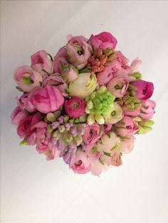 Pink and cream hyacinth and ranunculus