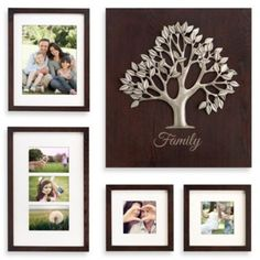 Buy Wallverbs™ Aspen/Artisan Wood Tree Box Decorative 5-Piece Photo Frame Set in Espresso from Bed Bath & Beyond