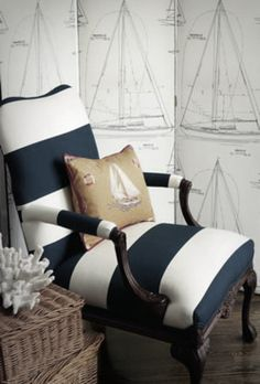 Sailboats and coral are a great addition to a nautical space.  Wide navy and white stripes introduce an element of elegance.