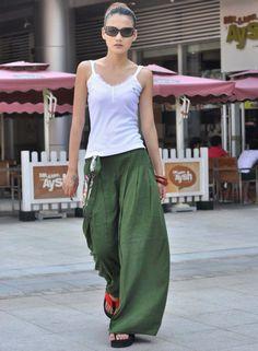 Forest Green Linen Wide Leg Long Pants Skirt  by Sophiaclothing, $79.99