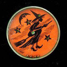 Vintage Halloween Toy ~ Flying Witch * Dexterity Toy ~ Try to maneuver the tiny BB's into the holes.