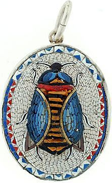 Victorian Sterling Micro Mosaic Scarab Pendant from abrandtandson on Ruby Lane White Mosaic Tiles, Mosaic Art, Stone Mosaic, Mosaic Glass, Victorian Jewelry, Antique Jewelry, Vintage Jewelry, Mosaic Animals, Mosaic Pieces