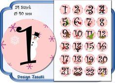 selbstklebende Zahlen Adventskalender rosa von Jasuki auf DaWanda.com
