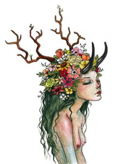 antlers branches flowers green hair horns nature goddess gaia