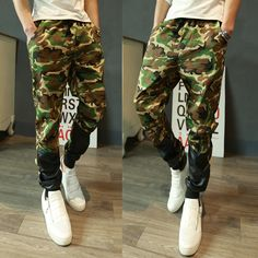 2017 New Fashion Men Casual Pants Camouflage Military Joggers Casual   Leather Patchwork Trousers Army 13M0553 #Affiliate