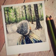 Oh Ms. Believer  Print of Polaroid Drawing by thisismyshopbye