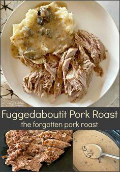 Fuggedaboutit Pork Roast - The Forgotten Pork Roast - 3 Ingredients! Slow Cooked Pulled Pork, Bbq Pork Ribs, Pork Loin, Pork Ham, Pork Roast Recipes, Meat Recipes, Dinner Recipes, Yummy Recipes, Holiday Recipes