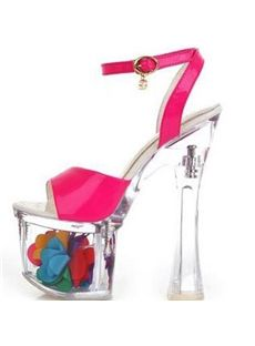 Shoespie Striking Crystal Super High Heel Peep-Toe Platform Sandals