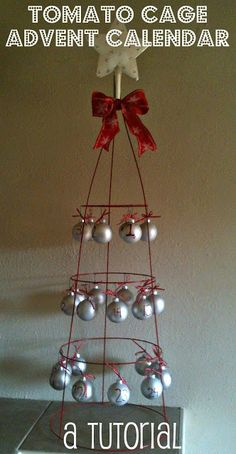 The Lung Family: Tuesday Tutorial: Tomato Cage Advent Calendar Christmas Craft Show, Christmas Projects, Christmas Ornaments, Christmas Trees, Christmas Decorations, Christmas Things, Outdoor Christmas, Xmas Tree, Tomato Cage Crafts