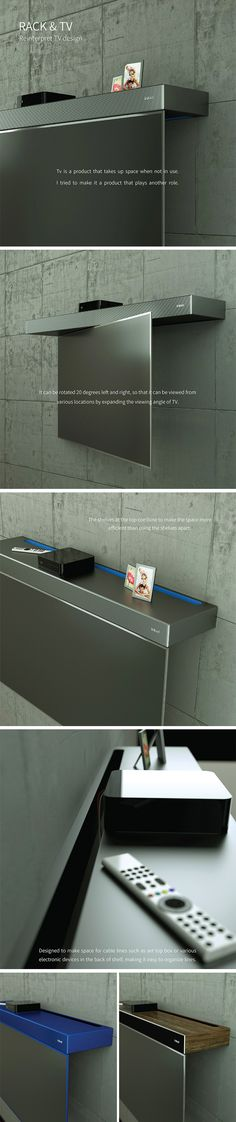 Instead of disappearing into the wall or disguising itself as something else, the Inkel Reinterpret TV concept simply doubles as a modern shelving unit. When it's not in use, it looks more like a modern, perhaps even artistic and sculptural shelf, so you might not even notice that it's a TV.