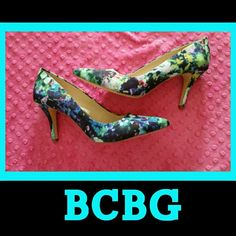 * Beautiful Floral BCBG Heels * I had to have these but unfortunately the pointy toe is not a good fit for me. I purchased these new in the floral print and in purple (both listed) they are so pretty in person. Only worn once, like new condition.  * 3.5 inch heel. BCBGeneration Shoes Heels