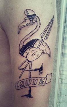Awsome Flamingo Tattoo on Guillaume.  Sorry for the bad quality picture.
