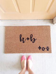 Custom DOG Door Mat, You Me Dog Door Mat, Paw Print Door Mat, Funny Door Mat,  House Warming Gift, Custom Initial Mat, Dog Door Mat, Dog Mat