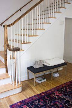 How-To Decorate When Your Front Door Opens Into Your Living Room — Blue Door Living Guest Room Paint, Dining Room Paint, Paint Colors For Living Room, Front Door Entryway, House Entrance, Front Doors, Creating An Entryway, Shoji White, House Tweaking