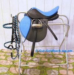 Model Horse Black Blue English Close Contact All Purpose Saddle Cross Country Show Jumping