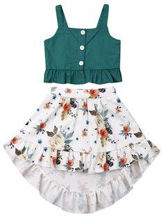 Toddler Baby Girl Clothes Outfit Set Summer Top T-shirt Floral Skirt Beach Dress Girls Summer Outfits, Dresses Kids Girl, Kids Outfits, Little Girl Skirts, Summer Clothes, Baby Girl Skirts, Baby Dresses, Dress Girl, Toddler Outfits