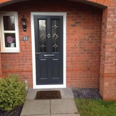 Traditional style door in a contemporary grey colour. Fitted with hand cut diamond bevels.