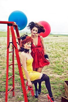 vintage store, circus theme outfits, big top candy promotion