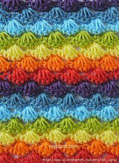 Mis Pasatiempos  Amo el Crochet: Punto abanico de varios colores
