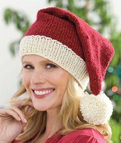 Knit Santa Hat Knitting Pattern | Red Heart free