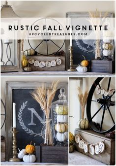 Rustic Fall Vignette using thrifted items and elements of nature…
