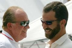 Spanish Royal Family in Mallorca holidays: King Juan Carlos and Prince Felipe.