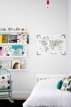 kids art and bookshelves that make the books art