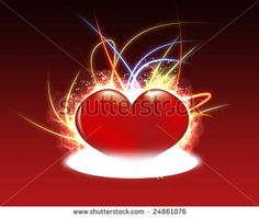 【ハート   心  Heart】 wonderful flurry heart on warm background. - stock photo