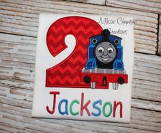 Your place to buy and sell all things handmade Birthday Outfits, 2nd Birthday Parties, Birthday Shirts, Blue Train, Thomas The Train, Boy Blue, Kid Names, Make You Smile, Color Change