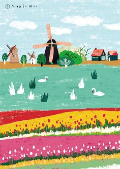 Netherlands,Holland,travel, traveling, trip, tour, journey,illustration,illust,illustrator,windmill,tulip