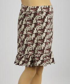 Brown & Pink Floral Maternity Skirt - Women #zulily #zulilyfinds