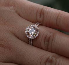 Morganite Engagement Ring Morganite Wedding Ring Set in 14k Rose Gold with Round 8mm and Diamond Halo Bridal Ring Set by Twoperidotbirds on Etsy https://www.etsy.com/listing/153239216/morganite-engagement-ring-morganite