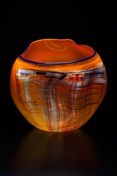 Dale Chihuly - Persimmon Soft Cylinder with Indigo Lip Wrap 2014 Glass 21 x 19 x 16 inches - Arthur Roger Gallery
