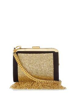 Bead-embellished fringe clutch bag by Balmain | Shop now at #MATCHESFASHION.COM