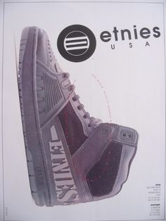 This magazine ad for Etnies from 1991 features Natas Kaupas. Puma Platform, Platform Sneakers, Vintage Skateboards, Shoes Ads, Roller Skating, Aaliyah, Skate Shoes, Skateboarding, Old And New