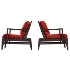 René Gabriel Pair of Lounge Chairs in Solid Oak | From a unique collection of antique and modern lounge chairs at https://www.1stdibs.com/furniture/seating/lounge-chairs/
