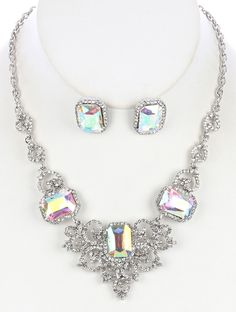 SIZE 14 INCH LONG COLOR Aurore Boreale  DESCRIPTION NECKLACE AND EARRING SET FACETED AURORA STONE RHINESTONE BIB FORMAL WEDDING POST PIN 14 INCH LONG 1 2/3 INCH DROP NICKEL AND LEAD COMPLIANT