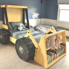 Kids Beds For Boys, Kid Beds, Cool Boy Beds, Bedroom Themes, Kids Bedroom, 3 Year Old Boy Bedroom Ideas, Bedroom Decor, Truck Toddler Bed, Kids Truck Bed