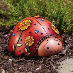New Creative Jeweled Garden Ladybug Statue