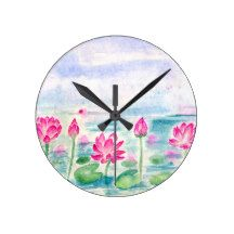 Lotus Pond Watercolor Round Clock