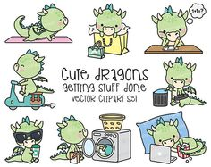 Premium Vector Clipart  Kawaii Dragon  Cute Dragons Planning