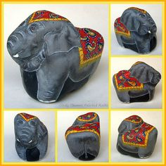 https://flic.kr/p/mSdwkR | Paisley Pachyderm | Elephant hand-painted on a rock with Paisley accents