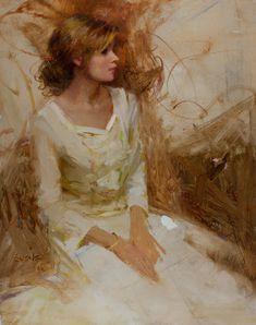 nancy guzik art | Nancy Guzik, Samantha in White, oil, 14 x 11.