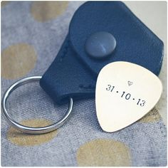Custom Date Guitar Pick - Wedding Date Guitar Pick & Leather Case - Hand Stamped Personalized Guitar Pick with Anniversary Date - Groom Gift