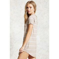Forever21 Striped Mini T-Shirt Dress (48 BRL) ❤ liked on Polyvore featuring dresses, long-sleeve mini dress, forever 21, short sleeve dress, striped t-shirt dresses and mini dress
