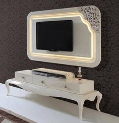 Beyaz Avangard Tv Ünitesi | En Güzel Mobilya Modelleri Tv Unit Interior Design, Tv Wall Design, Lcd Panel Design, Lcd Units, Tv Wall Cabinets, Modern Tv Wall Units, Tv Unit Furniture, Drawing Room Interior, Avantgarde