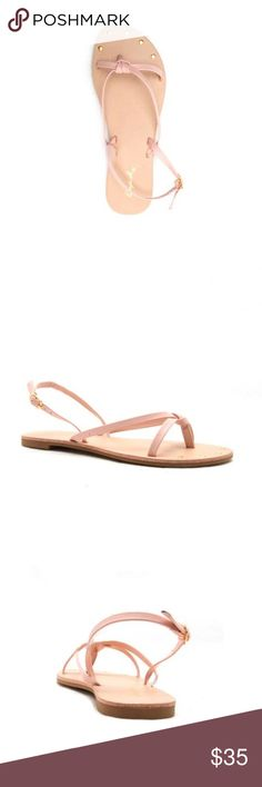 Thong Knot Sandals in Blush NIB. Features: sling back, adjustable straps, thong style with knot, and gold sequins on the sole at the toes area. Color: Soft Peach Qupid Shoes Sandals