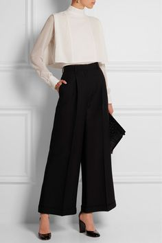 Valentino | Wool and silk-blend wide-leg cropped pants | NET-A-PORTER.COM