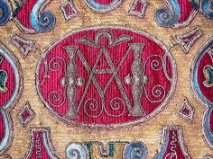 Maria Niforos - Fine Antique Lace, Linens & Textiles : Antique Textile # TX-28 Early 18th C. Embroidery w/ Metallic Threads